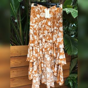 Solitaire Floral Tiered Ruffle Midi Skirt Large